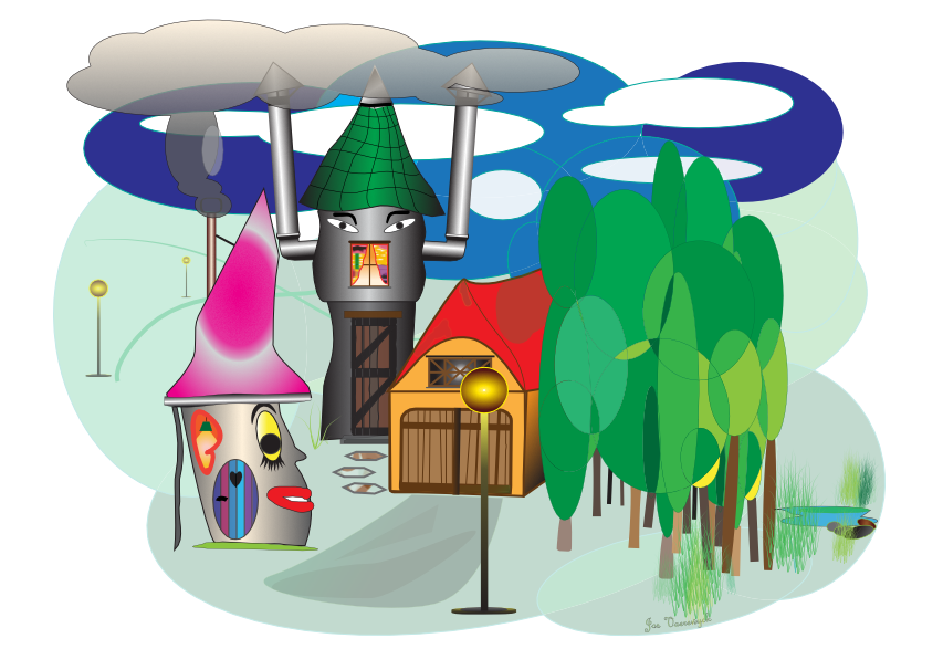 Funky village illustration