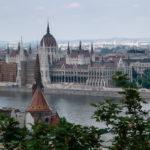 Foto zicht op het parlementsgebouw Budapest, Hongarije